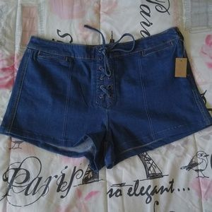 Mudd Lace Up High Rise Denim Shortie Shorts 15